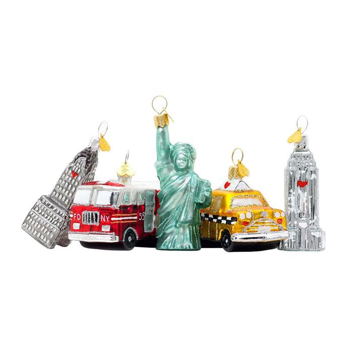 "Decorations by Bombki, $126 at [Amara](https://www.amara.com/au/products/little-new-york-tree-decoration-set-of-5|target=""_blank""