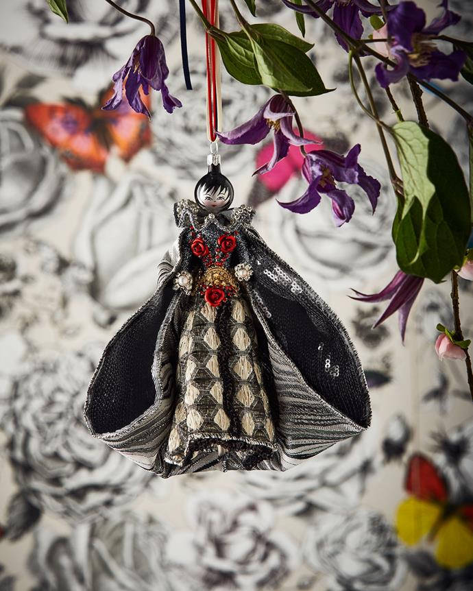 "Ornament by Christian Lacroix, $163 at [Neiman Marcus](https://www.neimanmarcus.com/en-au/p/christian-lacroix-lady-in-silver-gown-ornament-prod210790282 target=""_blank"" rel=""nofollow"")."