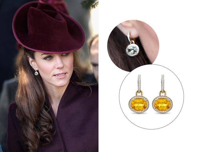 "Wearing the '[Kiki Classic Citrine And Diamond Oval Drop Earrings](https://kiki.co.uk/product/kiki-classic-citrine-and-diamond-oval-drop-earrings/|target=""_blank""