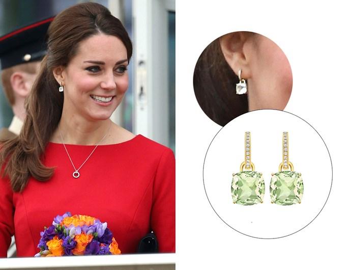 "Wearing the '[Classic Green Amethyst And Diamond Cushion Drop Earrings](https://kiki.co.uk/product/green-amethyst-and-diamond-cushion-drop-earrings/|target=""_blank""|rel=""nofollow"")'."