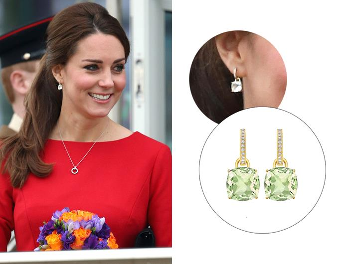 "Wearing the '[Classic Green Amethyst And Diamond Cushion Drop Earrings](https://kiki.co.uk/product/green-amethyst-and-diamond-cushion-drop-earrings/|target=""_blank""