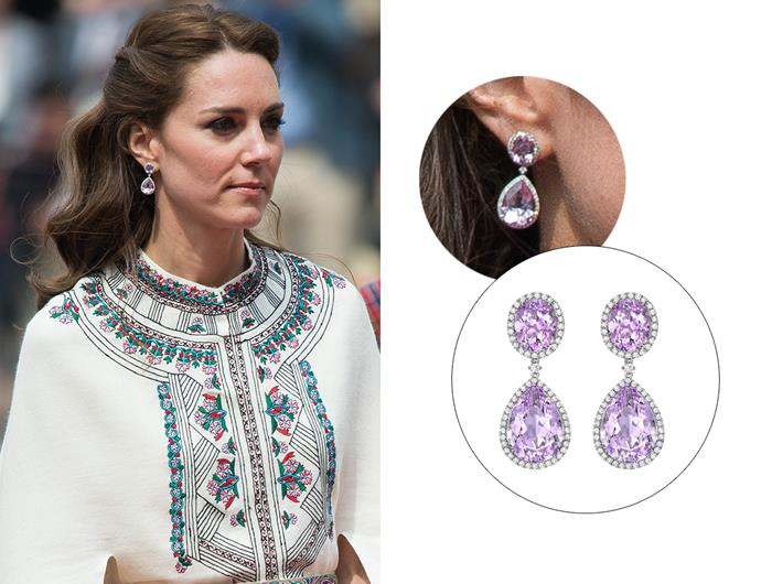 "Wearing the '[Lavender Amethyst And Diamond Pear And Oval Drop Earrings](https://kiki.co.uk/product/lavender-amethyst-pear-and-oval-drop-earrings/|target=""_blank""