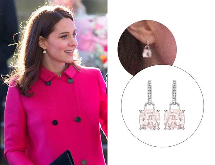 "Wearing the '[Classic Morganite And Diamond Cushion Drop Earrings](https://kiki.co.uk/product/kiki-classic-morganite-and-diamond-cushion-earrings/|target=""_blank""