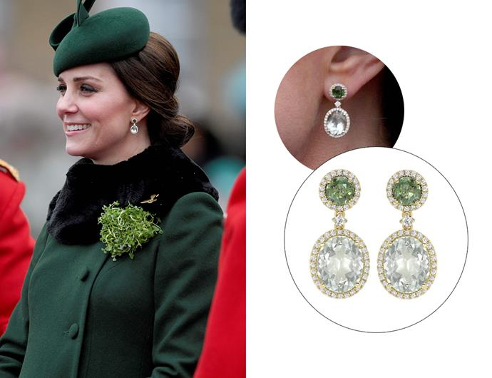 Wearing the 'Green Tourmaline And Green Amethyst Gold Drop Earrings.'