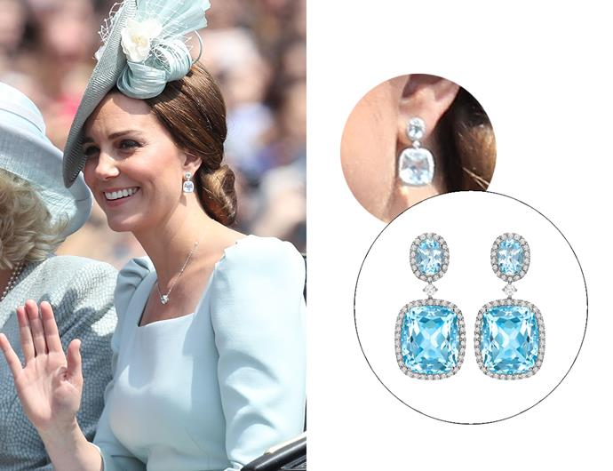 "Wearing the '[Blue Topaz And Diamond Drop Earrings In White Gold](https://kiki.co.uk/product/blue-topaz-and-diamond-drop-earrings-2/|target=""_blank""