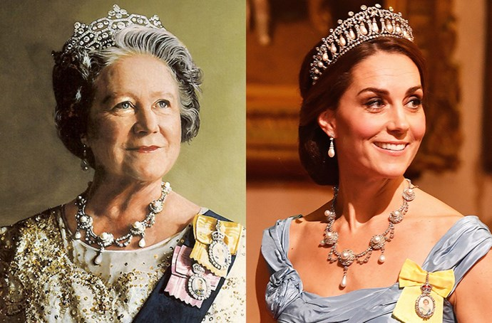 **Queen Alexandra's Wedding Necklace**<br><Br> For the Dutch-British state banquet in October, Kate wore Queen Alexandra's Wedding Necklace, which was given to Princess Alexandra of Denmark on her wedding day in 1863. The necklace was a firm favourite of the Queen Mother's until her death in 2002. This is the first time it's been seen since.