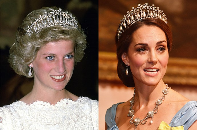 **Diana, Princess of Wales', Collingwood pearl and diamond drop earrings**<br><bR> Lady Diana Spencer was gifted these diamond and pearl drop earrings by her family jeweller, Collingwood, for her wedding in 1981. She often wore them with the Cambridge Lover's Knot tiara, which they matched. They were loaned to Kate, who also wears them with the Lover's Knot.