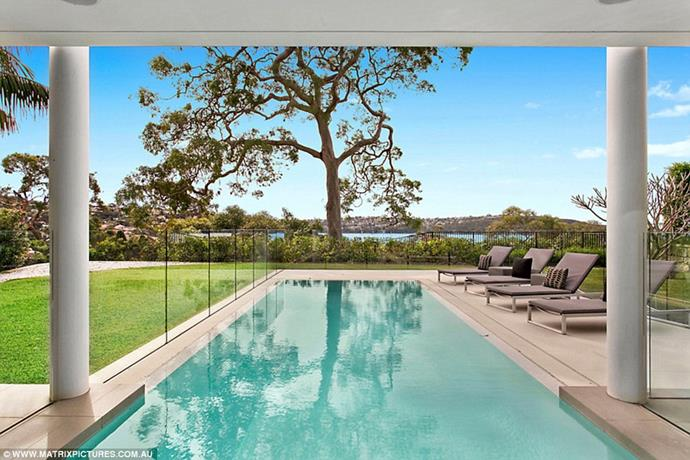 """The pool area <br><br> *Image: [Matrix Pictures/Daily Mail](https://www.dailymail.co.uk/tvshowbiz/article-6316229/Inside-Beckhams-17million-Sydney-Airbnb-mansion.html