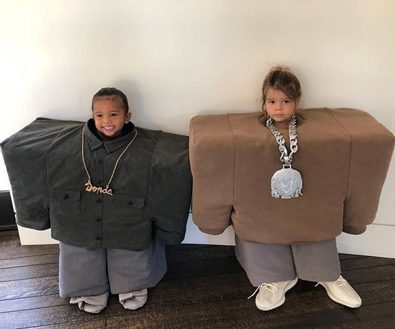 Saint West and Reign Disick as Kanye West and Lil' Pump.