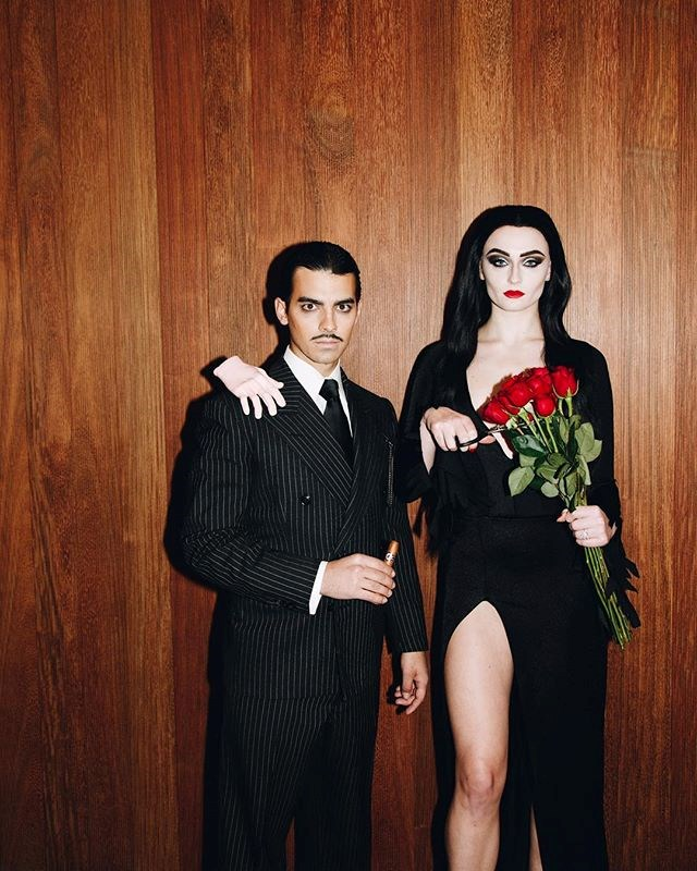Sophie Turner and Joe Jonas as Morticia and Gomez Addams from *The Addams Family*.