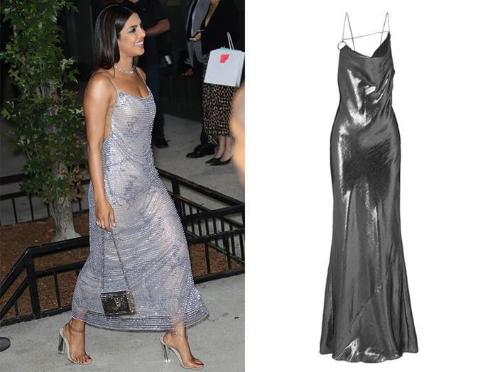 "Having become the popular go-to gown for actresses and models alike, the metallic dress, seen on Irina Shayk and Priyanka Chopra, has undergone a modern update with a slender silhouette, low black and high slit. It oozes utter elegance and drama. This Cushnie design in glimmering silver is figure hugging and with an elegant, floor length drape. Be sure to pair with open-toed heels and a petite clutch. <br> <br> Gown, $3,483.37, Cushnie at [Net-a-Porter](https://www.net-a-porter.com/au/en/product/1101456/cushnie/draped-silk-lame-gown|target=""_blank""