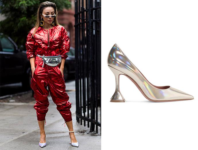 "It's bold and daring, but if you're planning to commit to a bright metallic jumpsuit, the only way to accentuate is with holographic pumps. Hosting a slightly higher heel, these Amina Muaddi pumps are refined yet eye-catching. With a sharp pointed toe and signature flared heel, these shoes are a certain conversation starter. <br> <br>  Pumps, $589.28, Amina Muaddi at [Net-a-Porter](https://www.net-a-porter.com/au/en/product/1086761/amina_muaddi/ami-iridescent-leather-pumps|target=""_blank""