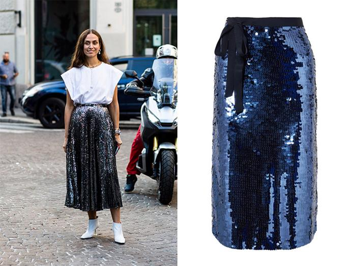 "A style popular on the streets of Milan's spring fashion week, it's finally a seasonal time to embrace a metallic skirt. Easily dressed up for parties, the skirt also looks unexpectedly cool with a clean white t-shirt and leather ankle boots. The straight cut of this J.Crew design will perfectly co-exist with flowy pieces and if you're feeling bold, match with a sleek cami. <br> <br> Skirt, $324.40, J.Crew at [Net-a-Porter](https://www.net-a-porter.com/au/en/product/1072943/j_crew/yams-grosgrain-trimmed-sequined-crepe-skirt|target=""_blank""