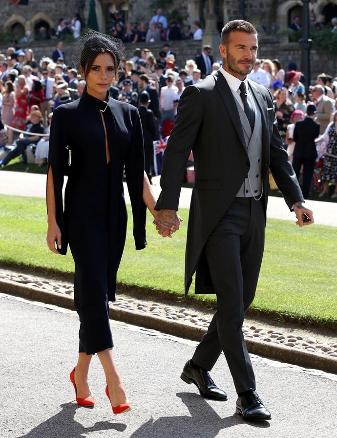 Victoria and David Beckham at the 2018 Royal Wedding.