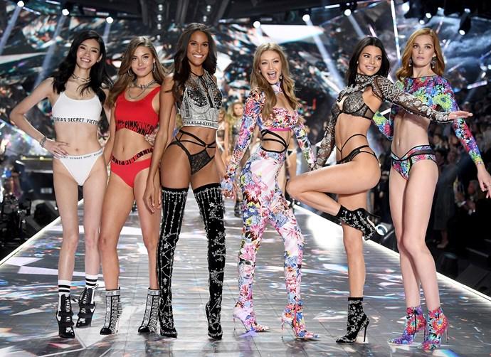 Ming Xi, Grace Elizabeth, Cindy Bruna, Gigi Hadid, Kendall Jenner and Alexina Graham at the 2018 Victoria's Secret Fashion Show.