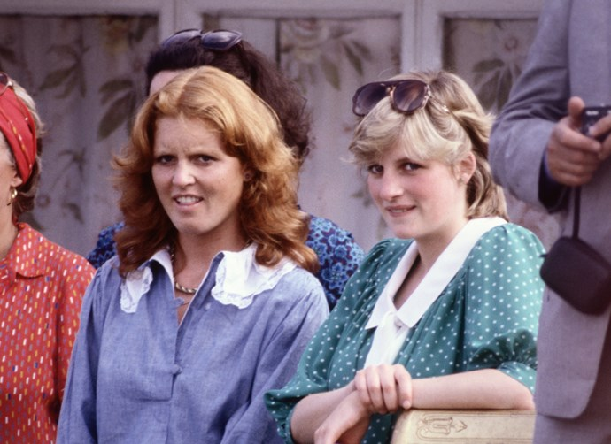 Sarah Ferguson and Diana, Princess of Wales in 1982.
