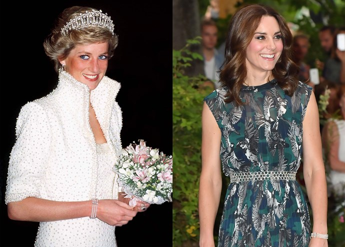 ***Diana's three-strand pearl bracelet***<br><br> During the Cambridge's 2017 tour of Germany, Kate brought out Diana's three-strange pearl bracelet, which was part of her pearl collection.