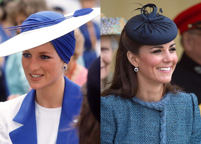 ***Diana's sapphire earrings***<br><br> As a wedding gift, the Crown Prince of Saudi Arabia reportedly gave Diana an entire suite of sapphire jewellery that included her iconic sapphire choker. Kate's sapphire-drop earrings, which match her engagement ring, are reportedly a pair of Diana's that have been re-set.