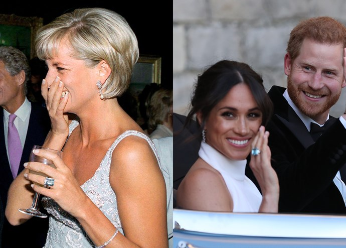 ***Diana's aquamarine ring***<bR><br> According to legend, Diana commissioned this aquamarine ring from jeweller Asprey after her divorce. Harry gifted the emerald-cut ring to his bride as a wedding gift and she was worn it twice since.