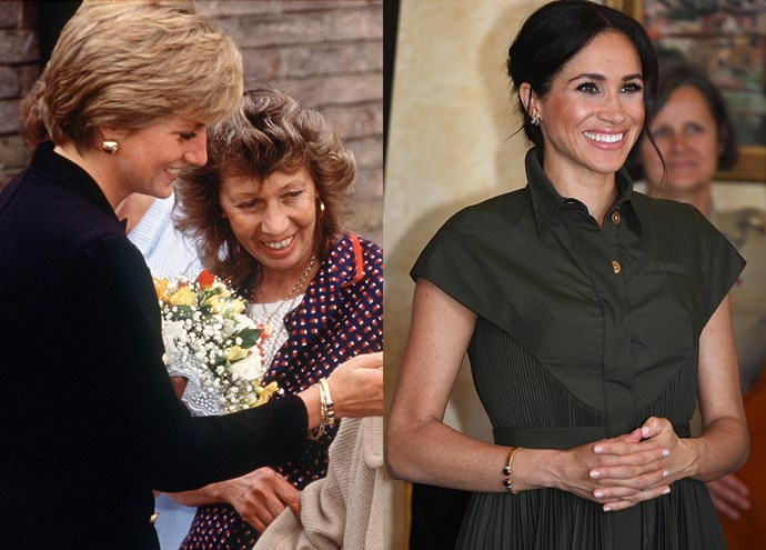 ***Diana's gold-and-blue-stone bracelet***<br><br> Along with her butterfly earrings, Meghan also wore the Princess' gold-and-blue-stone open bracelet.