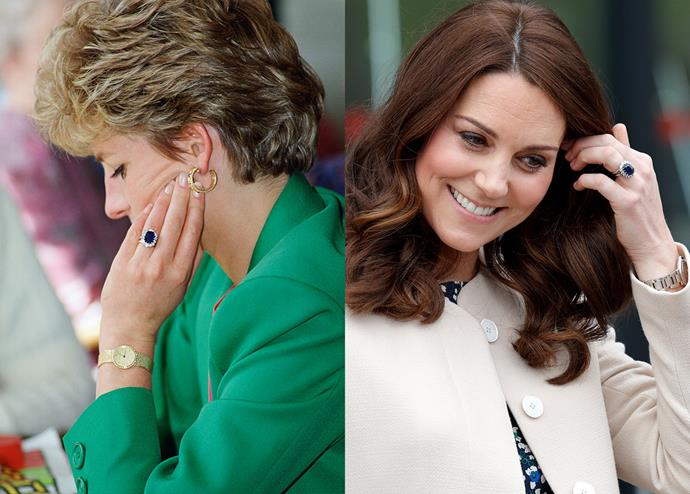 ***Diana's sapphire engagement ring***<br><br> After Diana's passing, rumour has it that William selected her Cartier watch from among her possessions to keep, while Harry chose her engagement ring. When it came to proposing to his then-girlfriend, Kate Middleton, William reportedly swapped with Harry so that she could have the sapphire. The original ring was picked out of a Gerrard's catalogue by a 19-year-old Lady Diana Spencer.