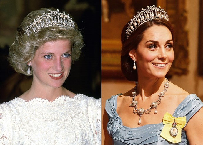 ***Diana's Collingwood pearl earrings***<br><br> When Lady Diana married Prince Charles, her family jewellers, Collingwood Jewellers, gifted her with a suite including a set of pearl-drop earrings. Kate regularly wears them.