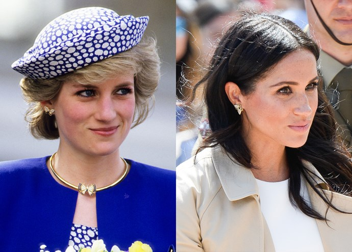 ***Diana's butterfly earrings***<br><br> While out in Sydney, Meghan wore a pair of Diana's everyday earrings—a pair of golden butterflies inset with blue stones and diamonds.