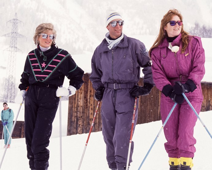 Princess Diana, Prince Charles and Sarah, Duchess of York in Switzerland in 1988.
