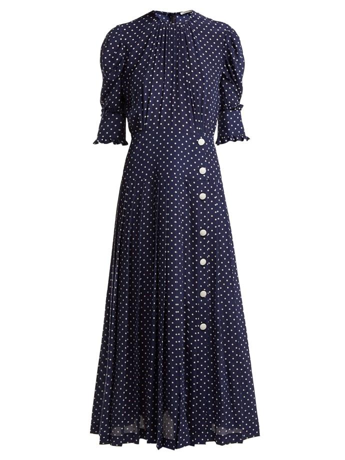 "Dress by Alessandra Rich, $3,084 at [MATCHESFASHION.COM](https://www.matchesfashion.com/products/Alessandra-Rich-Polka-dot-print-pleated-silk-dress-1243300|target=""_blank""|rel=""nofollow"")."
