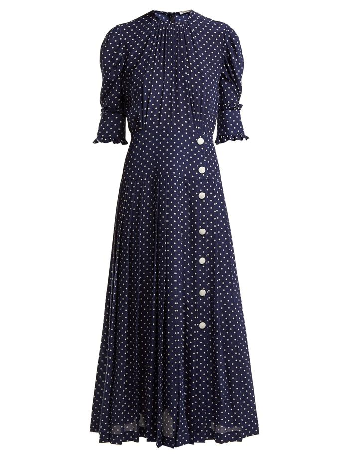 "Dress by Alessandra Rich, $3,084 at [MATCHESFASHION.COM](https://www.matchesfashion.com/products/Alessandra-Rich-Polka-dot-print-pleated-silk-dress-1243300 target=""_blank"" rel=""nofollow"")."