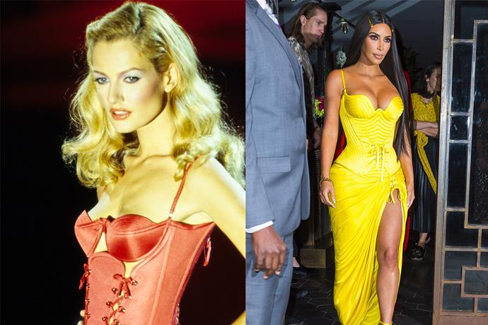 In a Versace spring/summer '95 corset gown in May 2018.