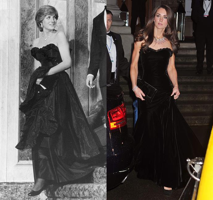 *In a black strapless gown with ruffled edge*<br><br> Diana in 1981 / Kate in 2011.