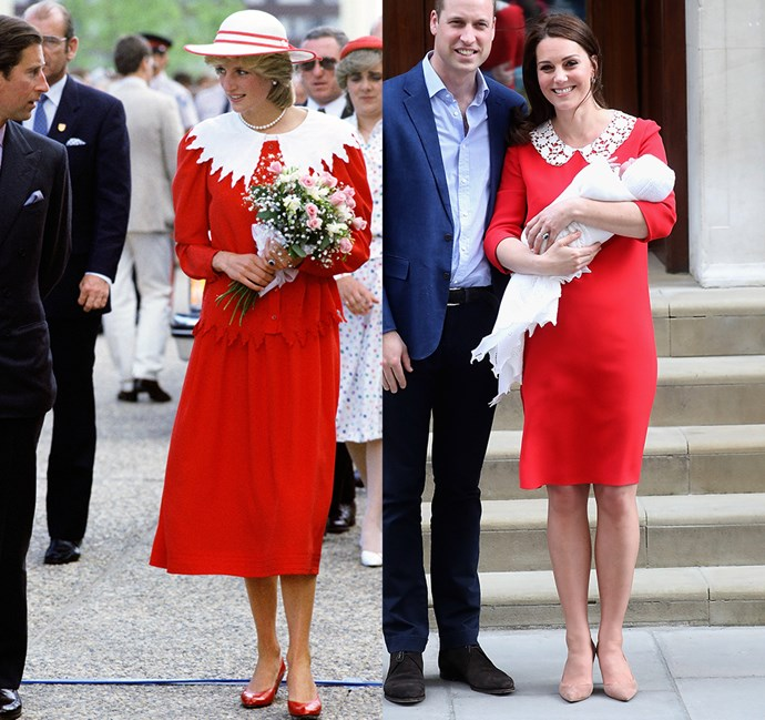 *In a red dress with ornate white collar*<br><br> Diana in 1983 / Kate in 2018.