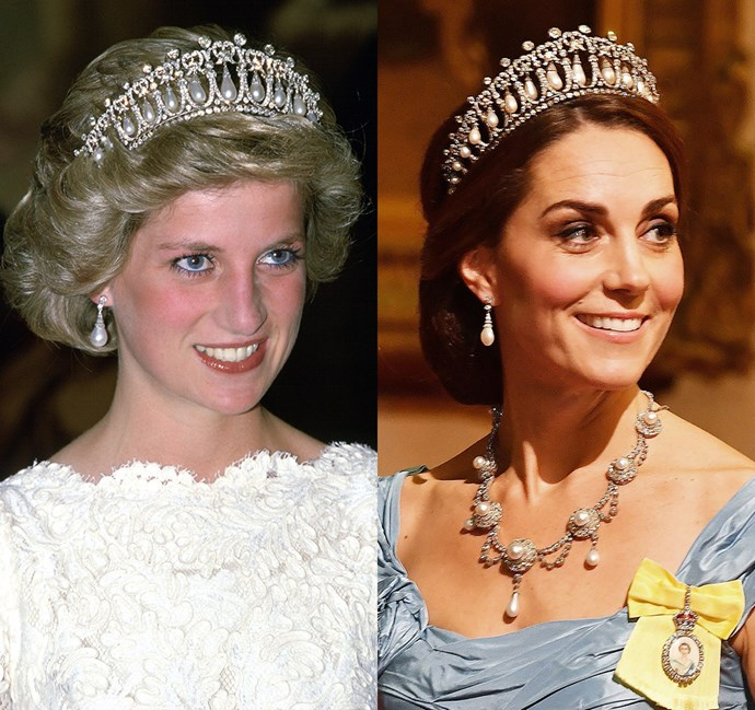 *In the Lover's Knot tiara and Diana's Collingwood pearl earrings*<br><bR> Diana in 1985 / Kate in 2018.