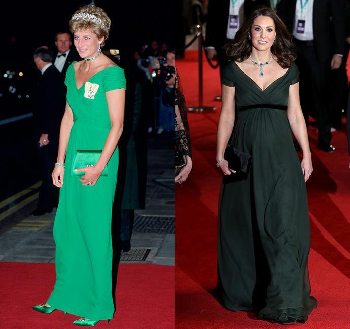 *In a green gown with crossed bodice and capped sleeves*<br><br> Diana in 1993 / Kate in 2018.