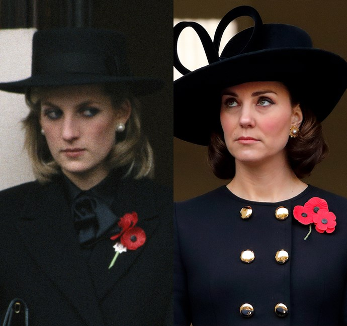 *In a black coat and curled-under hair*<bR><br> Diana in 1984 / Kate in 2017.