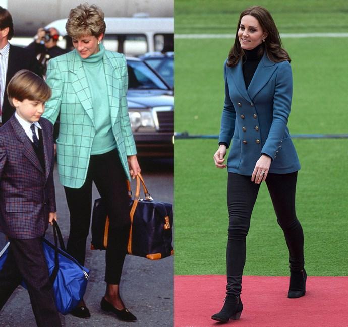 *In black jeans, turtleneck and blazer*<bR><br> Diana in 1993 / Kate in 2017.
