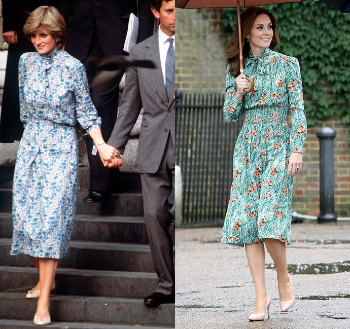 *In a floral-patterned dress with long sleeves and pussy-bow detail*<br><br> Diana in 1981 / Kate in 2017.