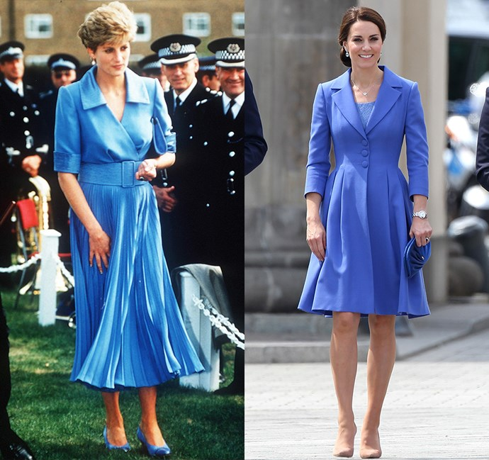 *In a blue coat-dress with collar and cinched waist*<br><br> Diana in 1992 / Kate in 2017.