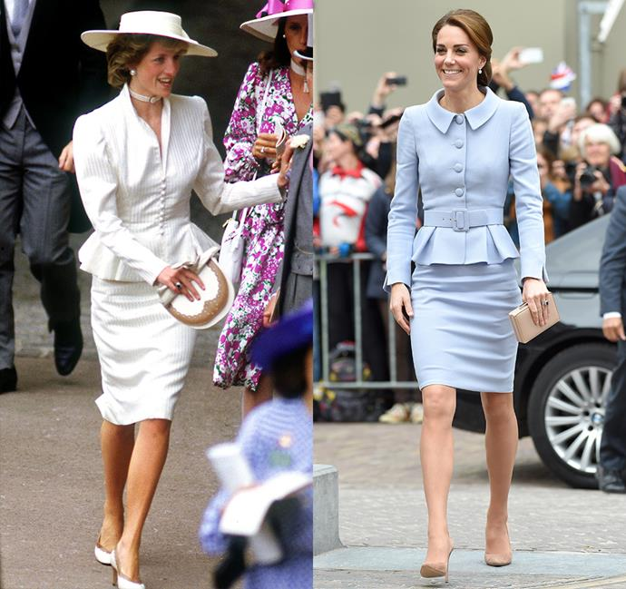 *In a skirt-suit with pencil skirt, collar and peplum waist*<br><br> Diana in 1986 / Kate in 2016.