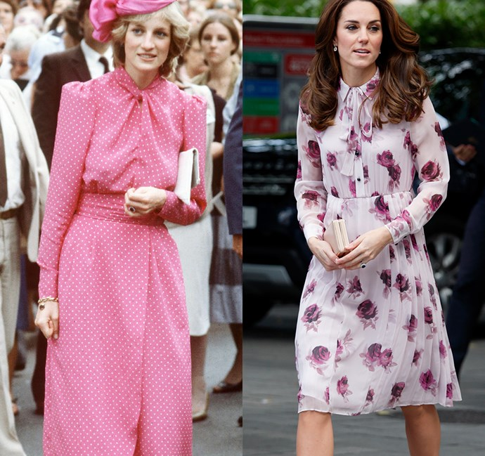 *In a long-sleeve dress with high neckline and defined waist*<bR><br> Diana in 1983 / Kate in 2016.