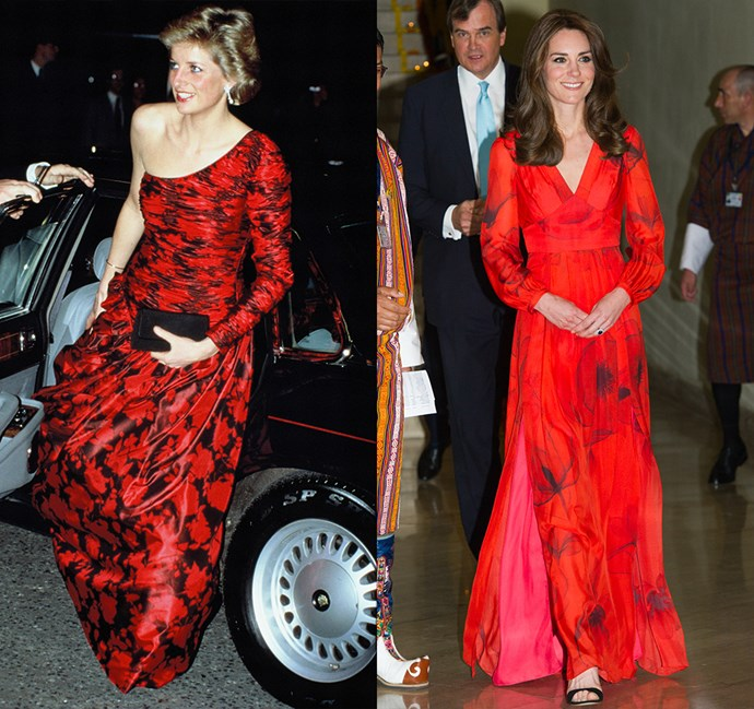 *In a red and black patterned gown*<br><bR> Diana in 1988 / Kate in 2016.