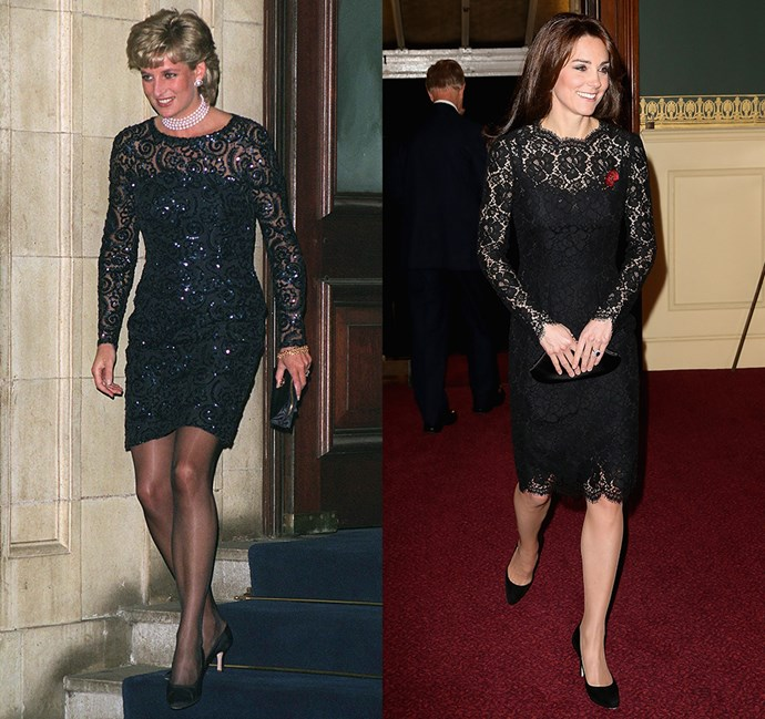 *In a black lace long-sleeved dress*<br><br> Diana in 1996 / Kate in 2015.