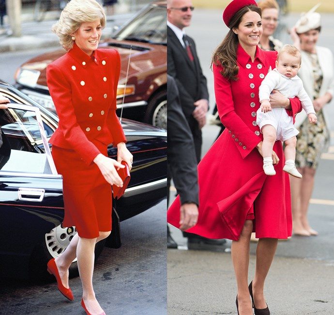 *In a double-breasted red coat with buttons*<br><br> Diana in 1989 / Kate in 2014.