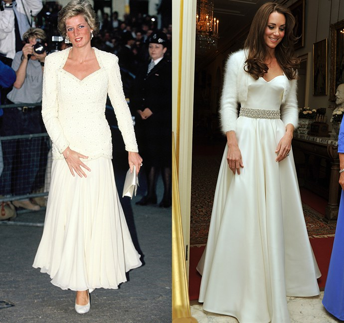 *In a white gown with Queen Anne neckline*<br><br> Diana in 1988 / Kate in 2011.