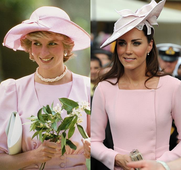 *In a pink hat with bow and matching pink dress*<br><br> Diana in 1985 / Kate in 2012.