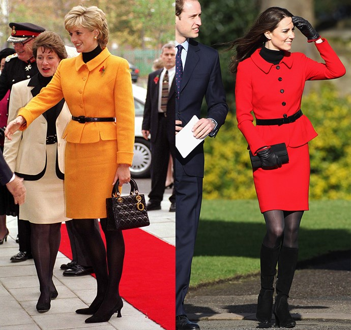 *In skirt-suit with flared waist and collar*<br><br> Diana in 1995 / Kate in 2011.