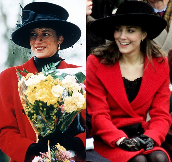 *In a red coat and black hat*<br><br> Diana in 1993 / Kate in 2006.
