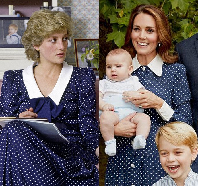 *In a long-sleeved navy polka-dotted dress with contrasting white collar*<bR><br> Diana in 1985 / Kate in 2018.