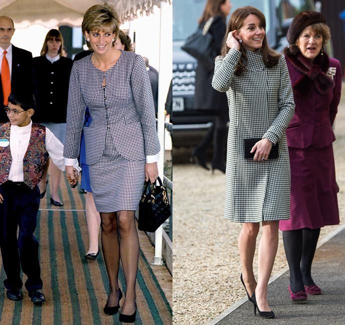 *In a black and white houndstooth coat*<br><br> Diana in 1995 / Kate in 2015.
